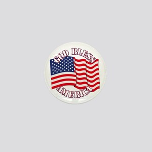 God Bless America With USA Flag Mini Button