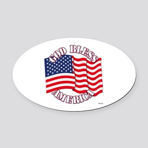 God Bless America With USA Flag Oval Car Magnet