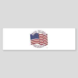 God Bless America With USA Flag Bumper Sticker