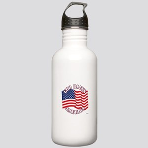 God Bless America With USA Flag Water Bottle