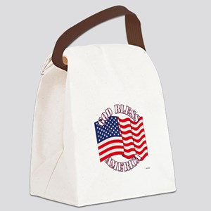 God Bless America With USA Flag Canvas Lunch Bag