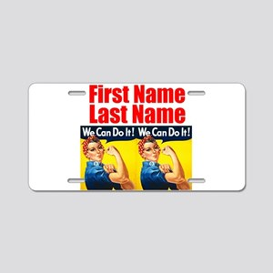 Rosie the Riveter We Can Do It Aluminum License Pl