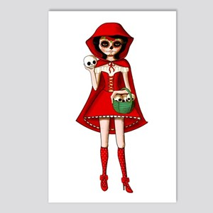 Red Riding Hood of Day of The Dead Postcards (Pack