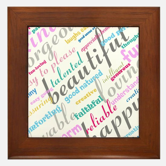 Positive Thinking Text Framed Tile