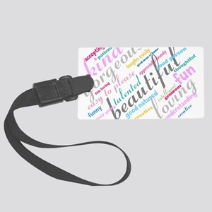 Positive Thinking Text Large Luggage Tag