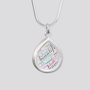 Positive Thinking Text Silver Teardrop Necklace