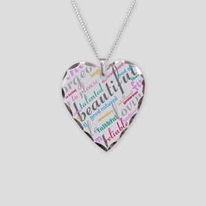 Positive Thinking Text Necklace Heart Charm