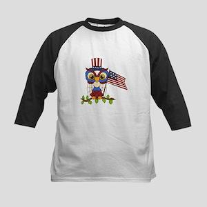 Patriotic Owl Kids Baseball Jersey