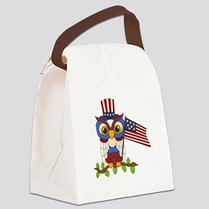 Patriotic Owl Canvas Lunch Bag