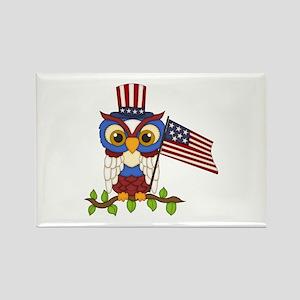 Patriotic Owl Rectangle Magnet