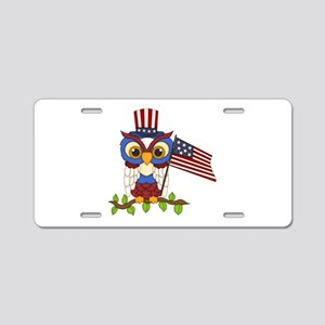 Patriotic Owl Aluminum License Plate