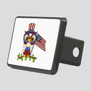 Patriotic Owl Rectangular Hitch Cover
