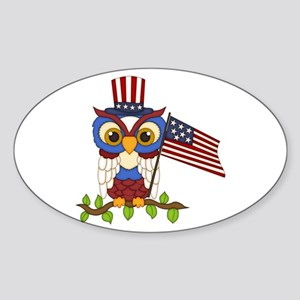 Patriotic Owl Sticker (Oval)