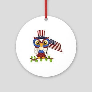 Patriotic Owl Ornament (Round)