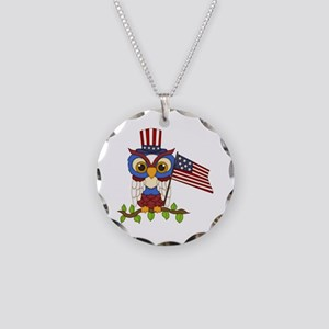 Patriotic Owl Necklace Circle Charm
