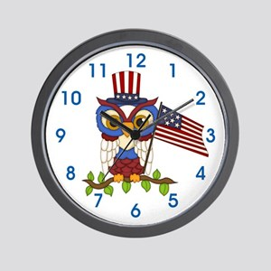 Patriotic Owl Wall Clock