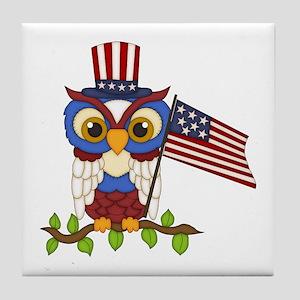 Patriotic Owl Tile Coaster