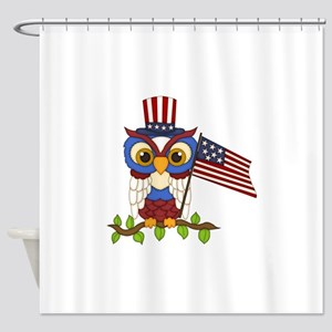 Patriotic Owl Shower Curtain