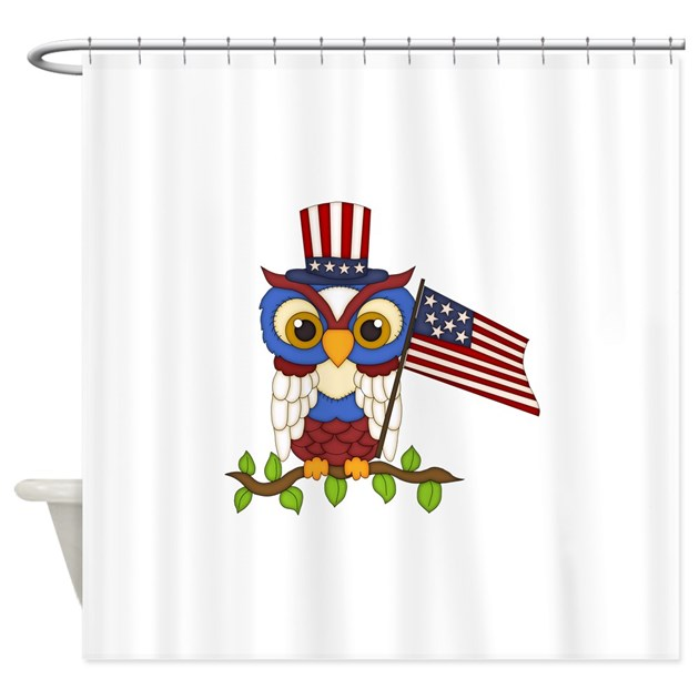 Patriotic Owl Shower Curtain By Jeanniesdreams
