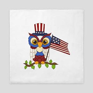 Patriotic Owl Queen Duvet