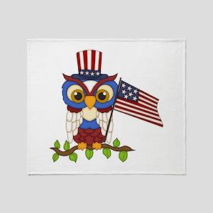 Patriotic Owl Throw Blanket