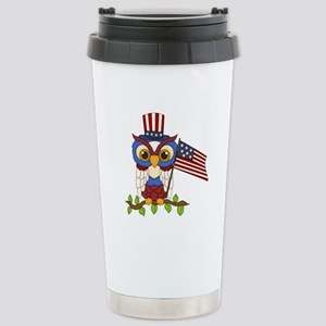 Patriotic Owl Stainless Steel Travel Mug