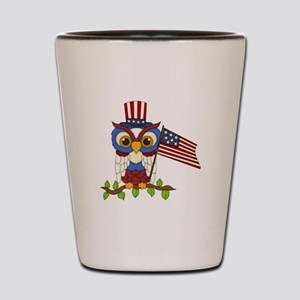 Patriotic Owl Shot Glass