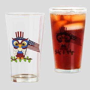 Patriotic Owl Drinking Glass