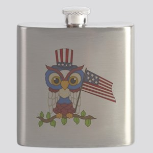 Patriotic Owl Flask