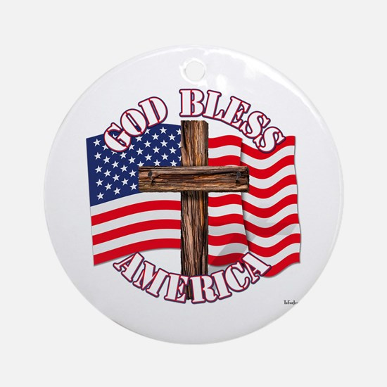 God Bless America With USA Flag and Cross Ornament