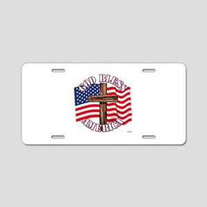 God Bless America With USA Flag and Cross Aluminum