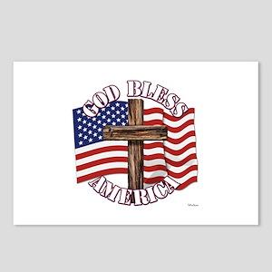 God Bless America With USA Flag and Cross Postcard