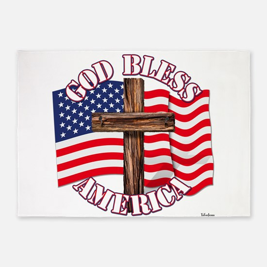God Bless America With USA Flag and Cross 5'x7'Are