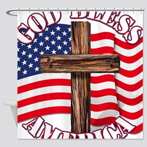 God Bless America With USA Flag and Cross Shower C