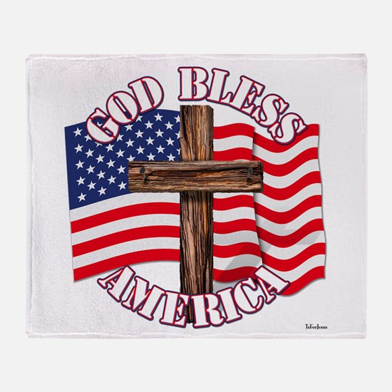 God Bless America With USA Flag and Cross Throw Bl