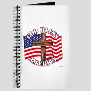 God Bless America With USA Flag and Cross Journal