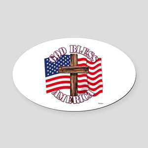 God Bless America With USA Flag and Cross Oval Car
