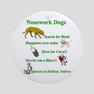 Nosework Dogs Working Ornament (round)