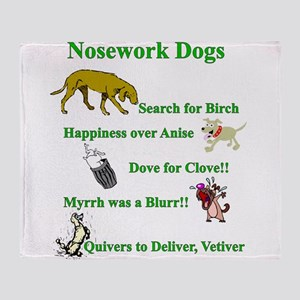 Nosework Dogs Working Throw Blanket