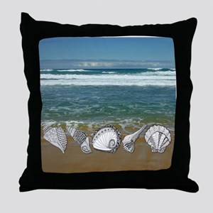 Seashell Beach Art Throw Pillow