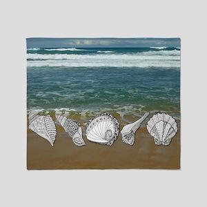 Seashell Beach Art Throw Blanket