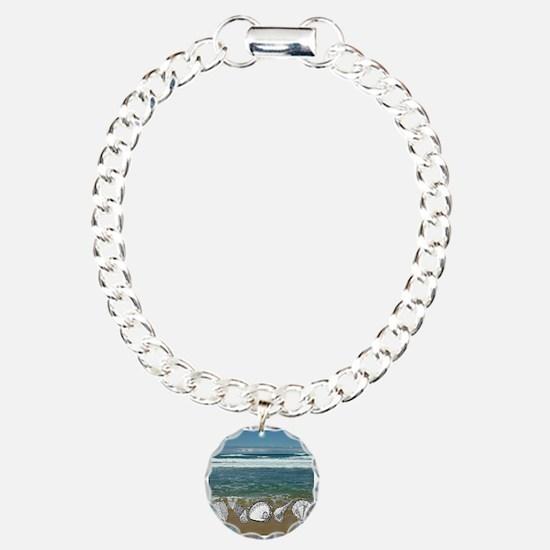 Seashell Beach Art Charm Bracelet, One Charm