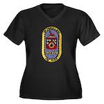 USS THOMAS C Women's Plus Size V-Neck Dark T-Shirt