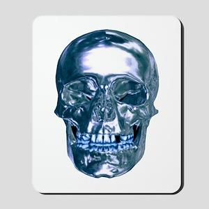 Blue Chrome Skull Mousepad