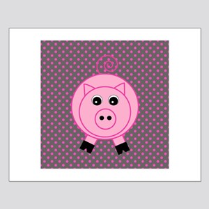 Pink Pig on Gray Posters