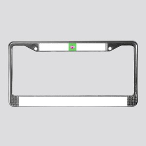 Hot Green and Pink Airplane License Plate Frame
