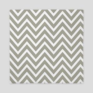 Gray and White Chevron Stripes Queen Duvet