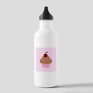 Pink Cupcake on Polka Dots Water Bottle