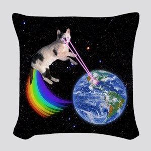 Laser Rainbow Space Cat Woven Throw Pillow