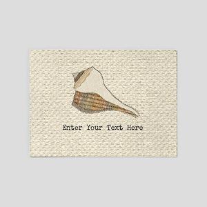 Unique Seashell Art Fabric Collage 5'x7'Area Rug